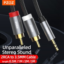 PZOZ 3.5mm Jack to 2 RCA Aux Cable 3.5 mm to 2RCA RCA Cable Adapter Splitter Audio Cable for TV Box