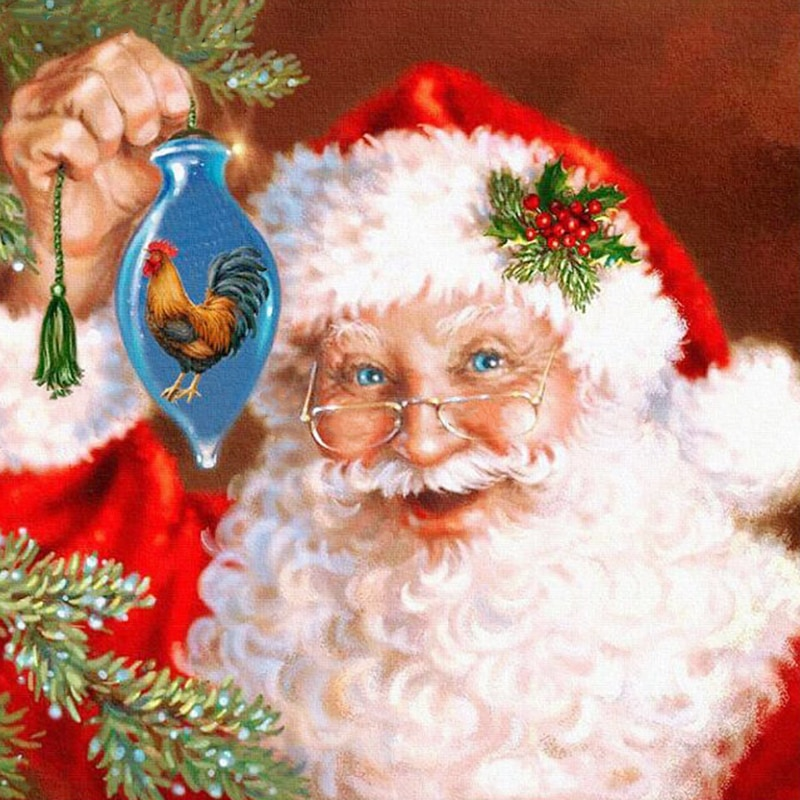5D Diy Daimond pintura punto de cruz Santa Claus 3D pintura de diamantes cuadro redondo con diamante de imitación bordado Diamant regalo de Navidad