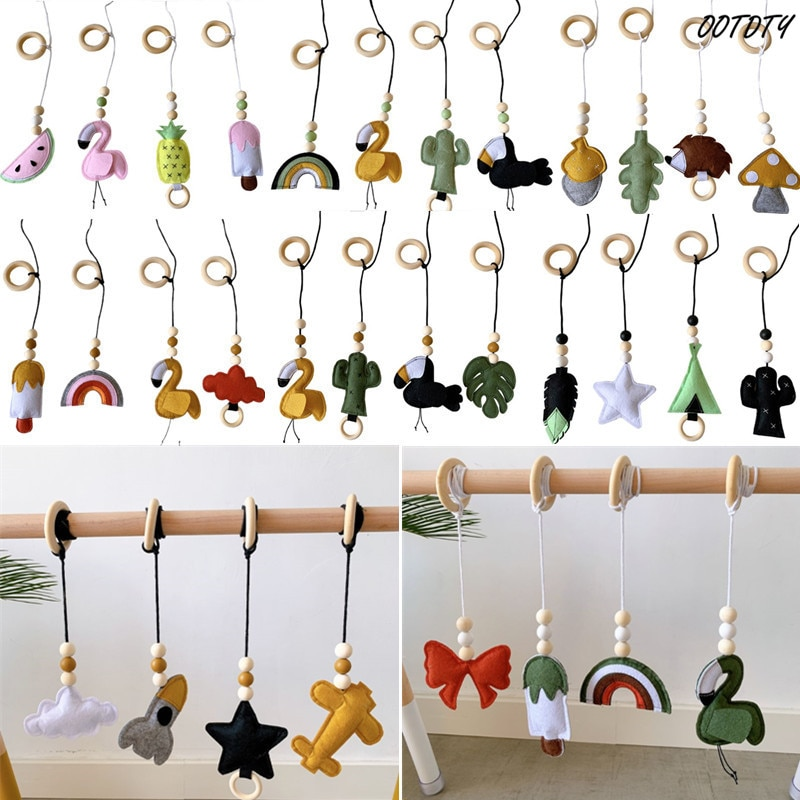 4Pcs/set Solid Wood Fitness Rack Pendant Children Room Decoration Infants Baby Gym Toy Hanging Ornaments 4pcs magic hair elf trolls ugly baby troll bobby princess base model toy car decoration ornaments
