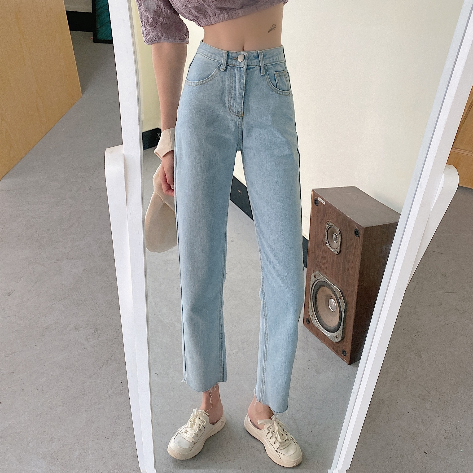 Small Cropped Jeans for Women 2021summer New Internet Celebrity Xuan Ya High Waist Slimming Loose Pa