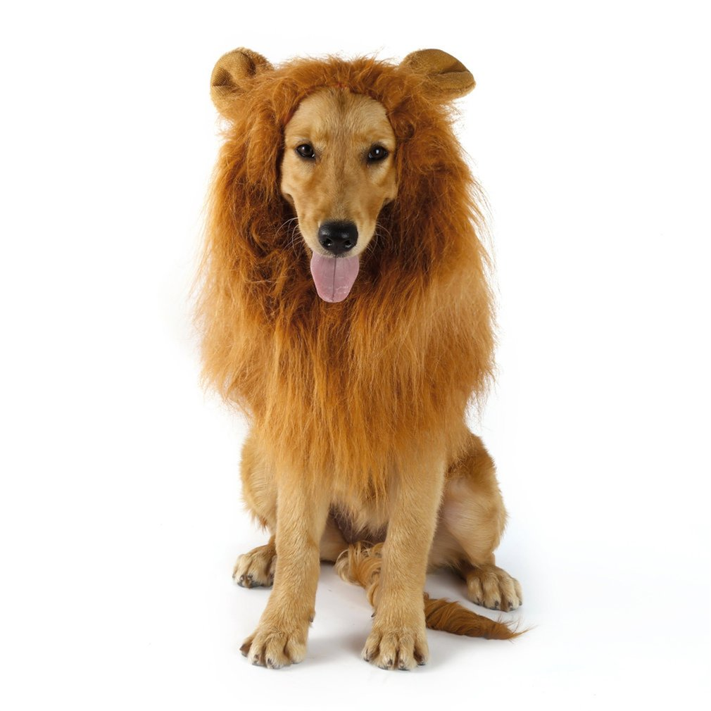 Disfraz de Animal mascota, pelucas de León, pelo de Melena, bufanda, vestido de fiesta elegante, ropa de perro, disfraz de fiesta, vestido elegante para perro