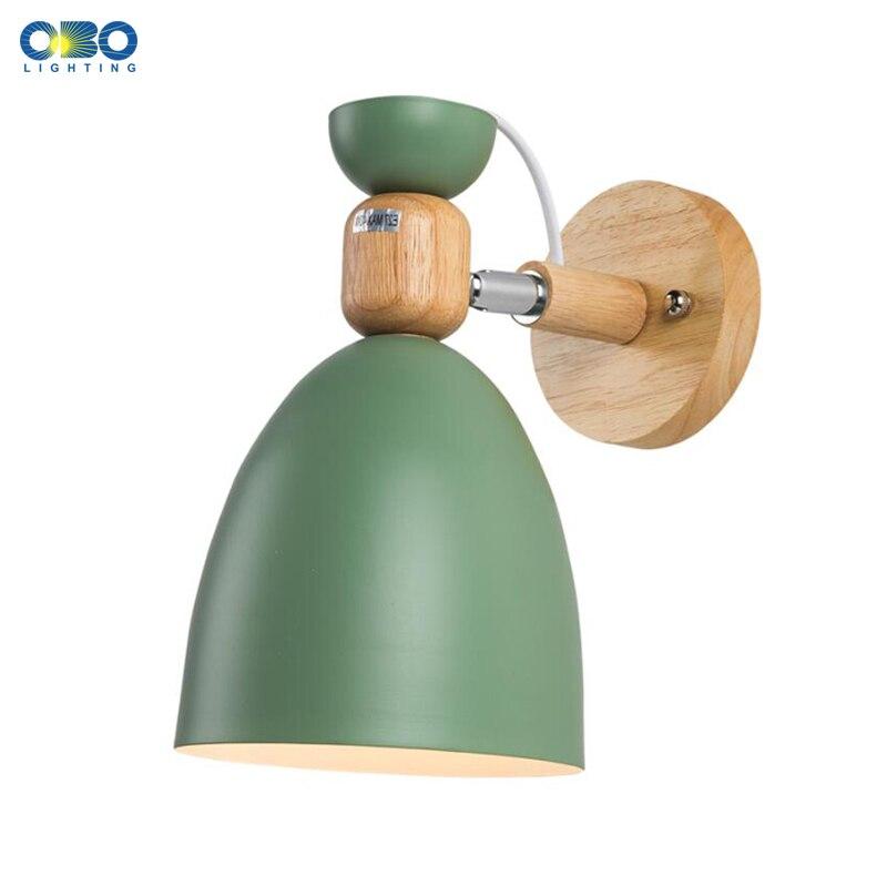 Lámpara de pared moderna colorida Macaron múltiples direcciones hierro dormitorio/sala de estar/cama cabeza interior E27 LED luces de pared de madera
