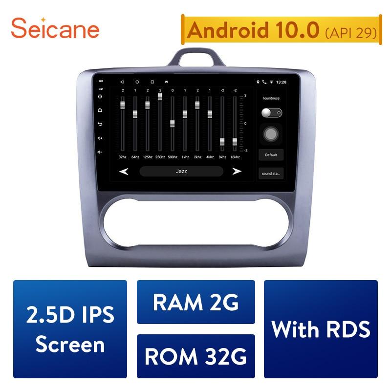 Pantalla táctil de navegación GPS Seicane 2DIN Android 10,0, 4 núcleos, Radio de coche para Ford Focus Exi AT 2004-2005 con FM AUX y Bluetooth
