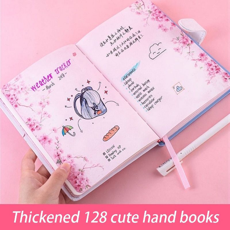 a5 illustration color page diary thick girl heart cute hand book korean student stationery notebook creative kawaii diary New kawaii Girl Hand Ledger Girl Heart Coloring Page Notebook Illustration Diary Student Stationery Sketchbook Gift plan Diary