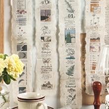 1 hoja de tiras largas Retro literario, cinta adhesiva para diario, álbum de recortes, Collage, diario, Material de decoración, pegatinas, papelería