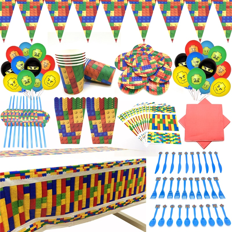 Building Blocks Party Decoration Latex Balloon Baby Shower Party Banner Building Brick Theme Party Supplies Disposable Cup Fork