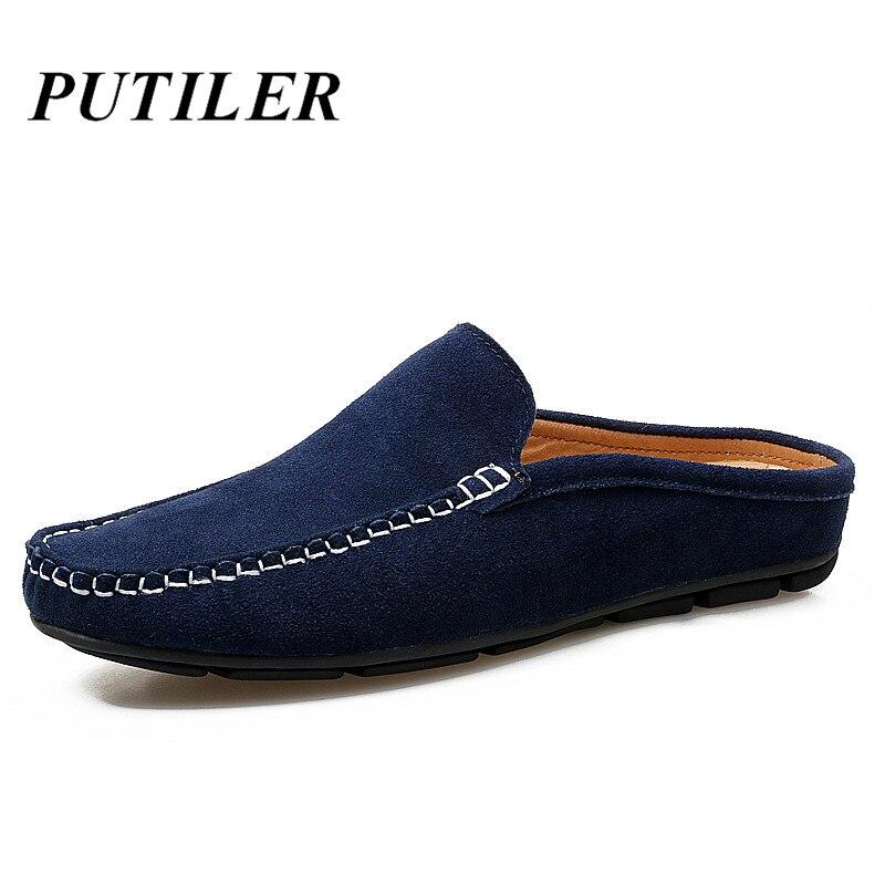 2020 homens meias sapatos casuais marca de luxo italiano handmande slipon condução sapatos camurça couro verão chinelos mocassins azul