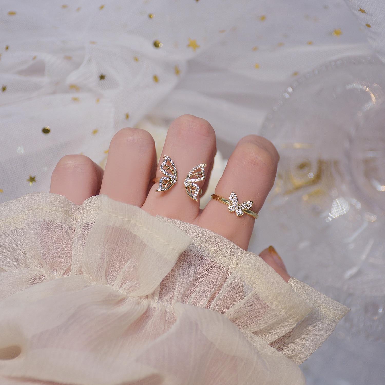 Moda coreana borboleta brilhando anel de zircão de cristal para mulher vários estilos cz borboleta anéis feminino jóias presentes