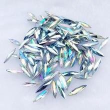 Pierres de garniture et cristaux colorés AB œil de cheval   Garniture de strass acrylique, accessoires de décoration 150 pièces-HE89 4*15mm