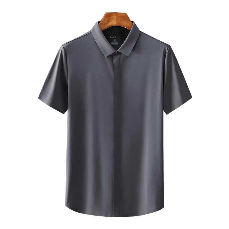 Short-sleeved shirt men's summer ice silk high-quality non-iron business suit loose half-sleeved high-end casual men's shirt
