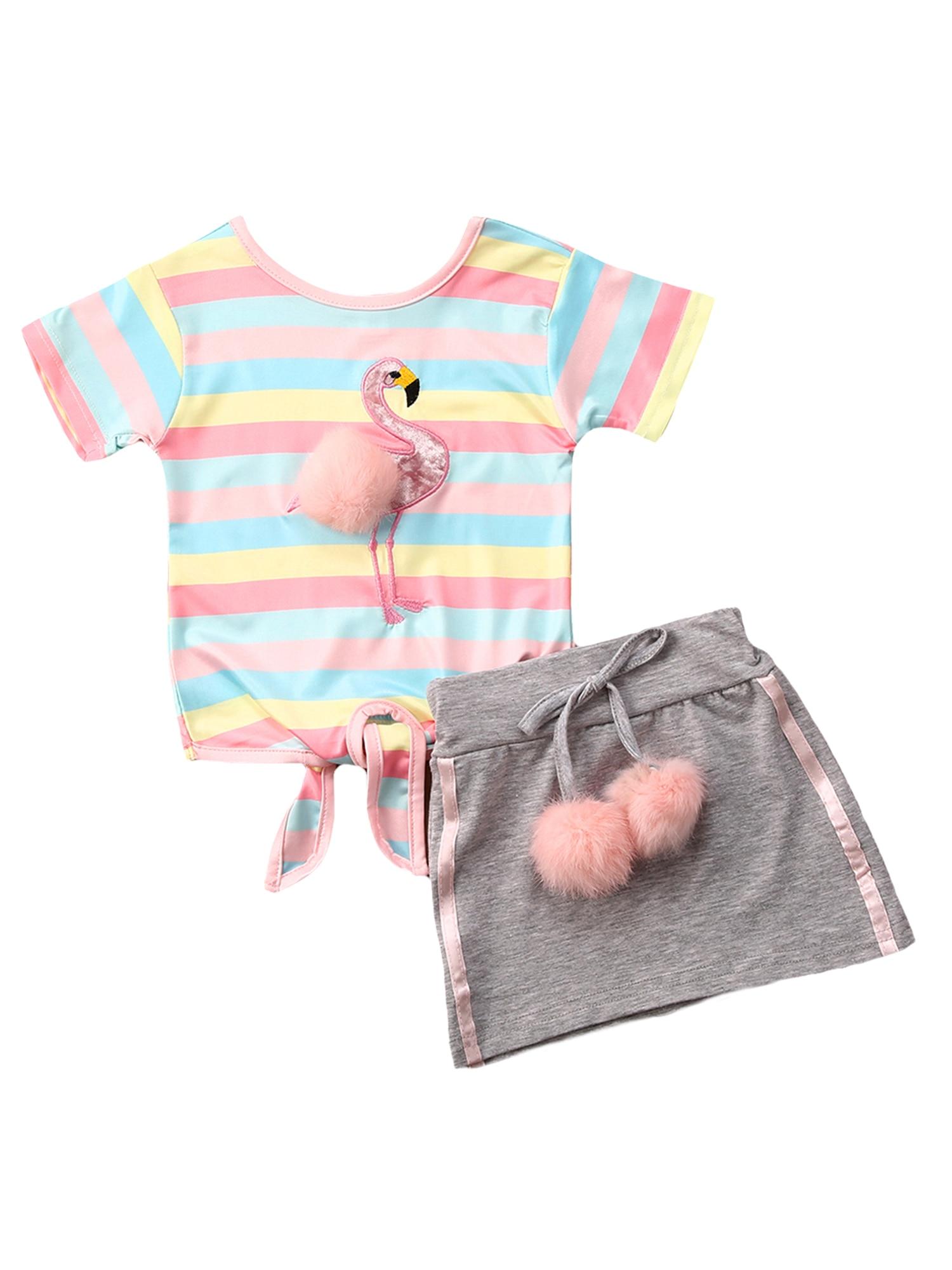 Детская летняя одежда для маленьких девочек, футболка с плюшевым мячом, комплект одежды с топом и юбкой, 2020