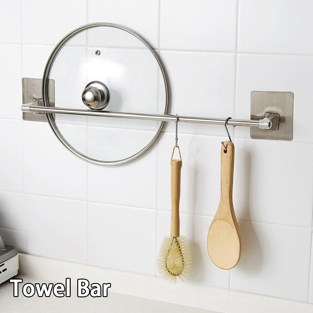 Ferretería moderna, soporte de barra de toalla, estante para polvo de acero inoxidable, accesorios de habitación, almacenamiento de baño, multifunción, sin perforaciones