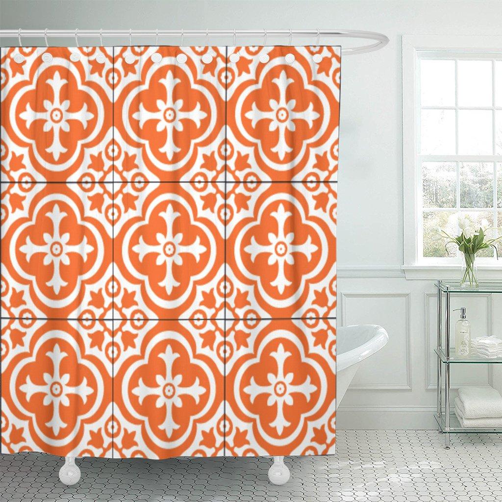 Marrón Portugal patrón naranja Damasco Floral Vintage símbolo abstracto baño cortina impermeable poliéster tela 60x72 pulgadas