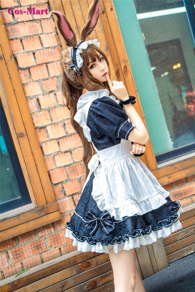 Hot Game Arknights Amiya Cosplay Costume Working Assignment Gorgeous Maid Dress Activity Party Role Play Clothing Custom-Make