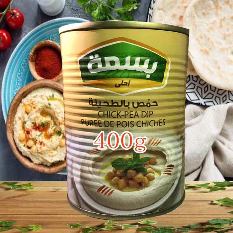HUMUS-Salsa de garbanzos, granos triangulares de Oriente Medio, 400g, fecha fresca