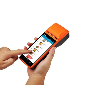 Handheld POS Android Terminal With 58mm Thermal Receipt Printer Cash Registers For Mobile Order eSIM 4G WiFi