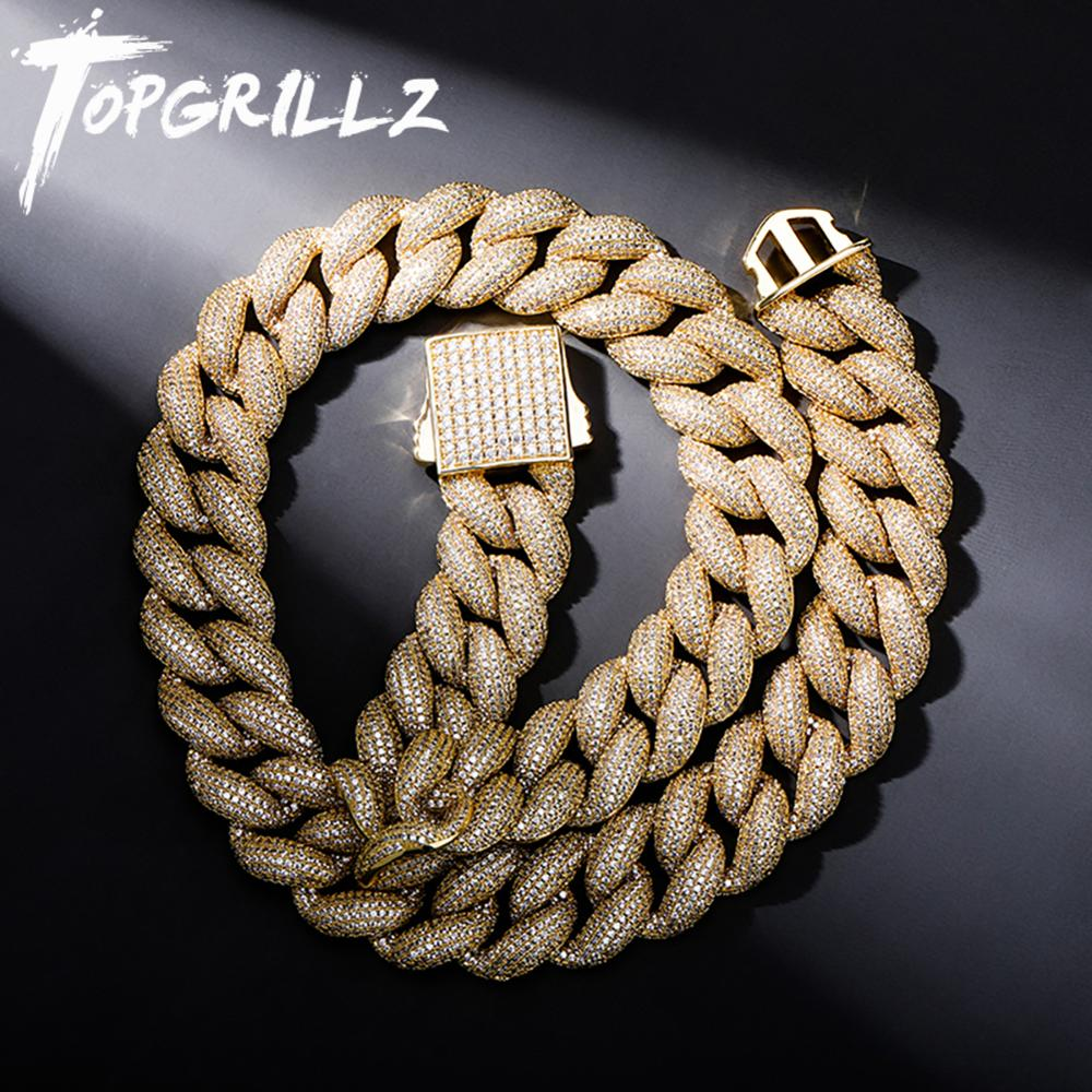 Get TOPGRILLZ Mens Necklace 18MM Miami Cuban Chain with Spring Clasp Ice Micro Pave CZ Hip Hop Fashion Luxury Jewelry For Gift Party
