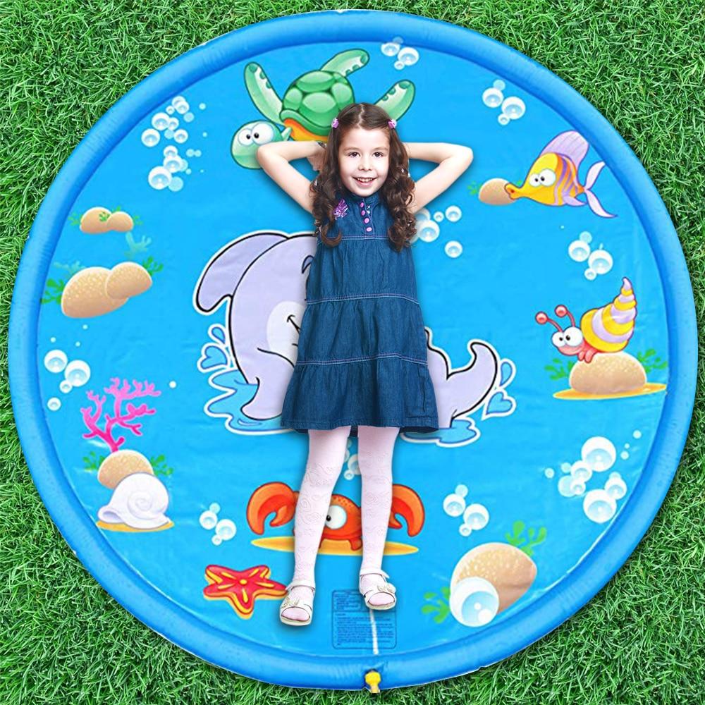 Sommer kinder spielen wasser matte spiel strand matte aufblasbare spray wasser matte im freien bad pool schwimmen pool wasser matte spielzeug