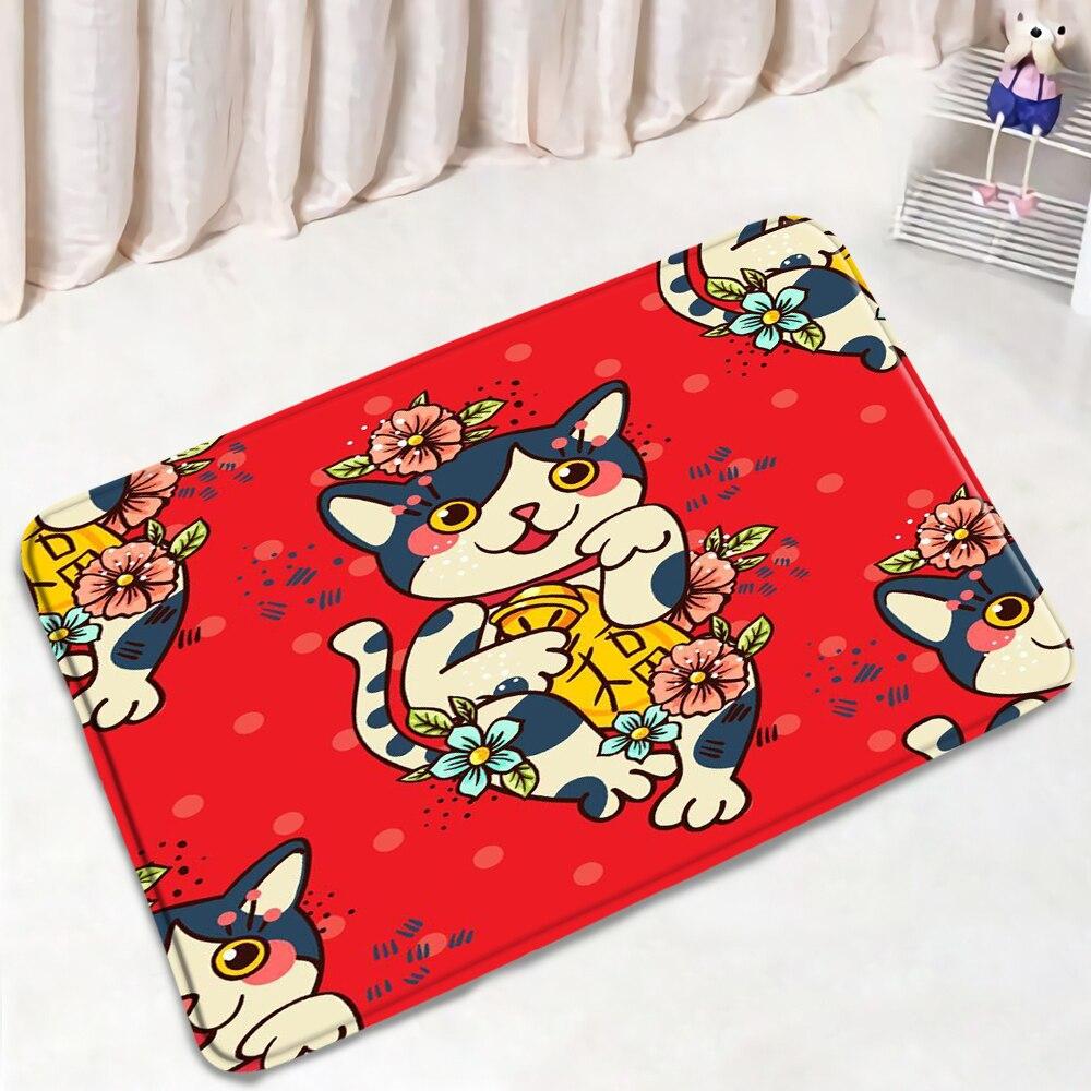 Lucky Cat Printed Bath Mat Cartoon Animal Doormat Flannel Bathroom Non-Slip Carpet Kitchen Living Room Floor Pad Home Decor Mats
