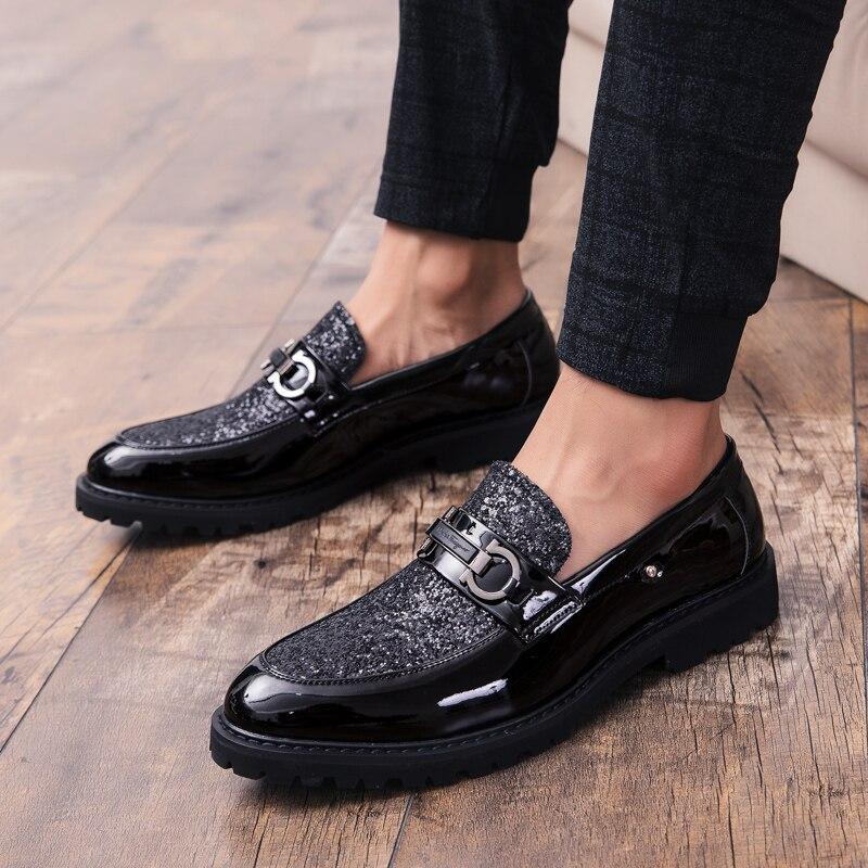 أحذية رجالي ماركة الموضة تألق أحذية لينة وحيد جلد رسمي عادية بسيطة أصيلة الربيع والخريف المتسكعون كبير 46