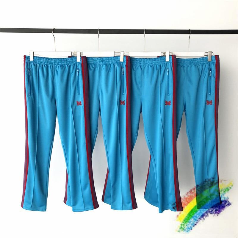 Blue Needles AWGE Sweatpants Men Women 1:1 Top Quality Needles Pants Red butterfly embroidery Stripe AWGE Pants