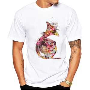 2020 New Arrivals French horn Men T Shirt Floral Horn Printed t-shirt Short Sleeve Casual Basic Tops Cool Tee Shirts oversized