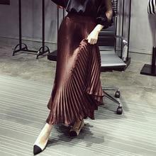 Jupe plissée dame 2020 été Style coréen lumineux tissu cheville-longueur soyeux solide élégant-Style jupe longue femmes