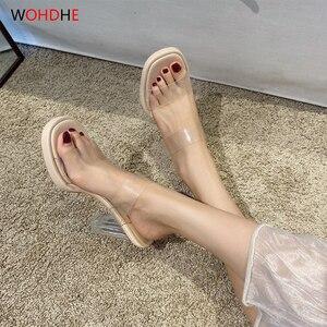 wohdhe Beautiful  Women Sandals Transparent PVC Slippers Summer High Heels Pumps Slip On Slides Soft Women Shoes  2020