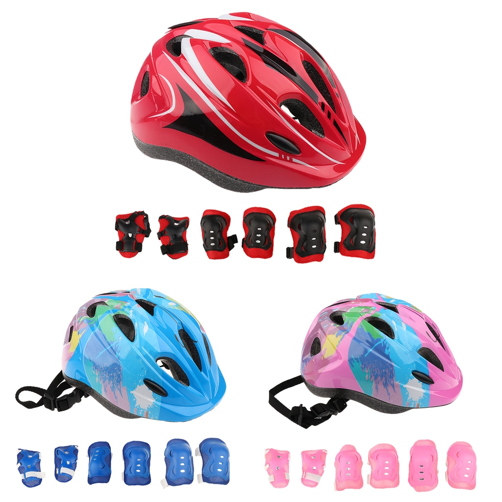 7Pcs Children Roller Skating Protective Helmet Knee Wrist Guard Elbow pads Skateboard Cycling Sports Protective Guard Gear Set