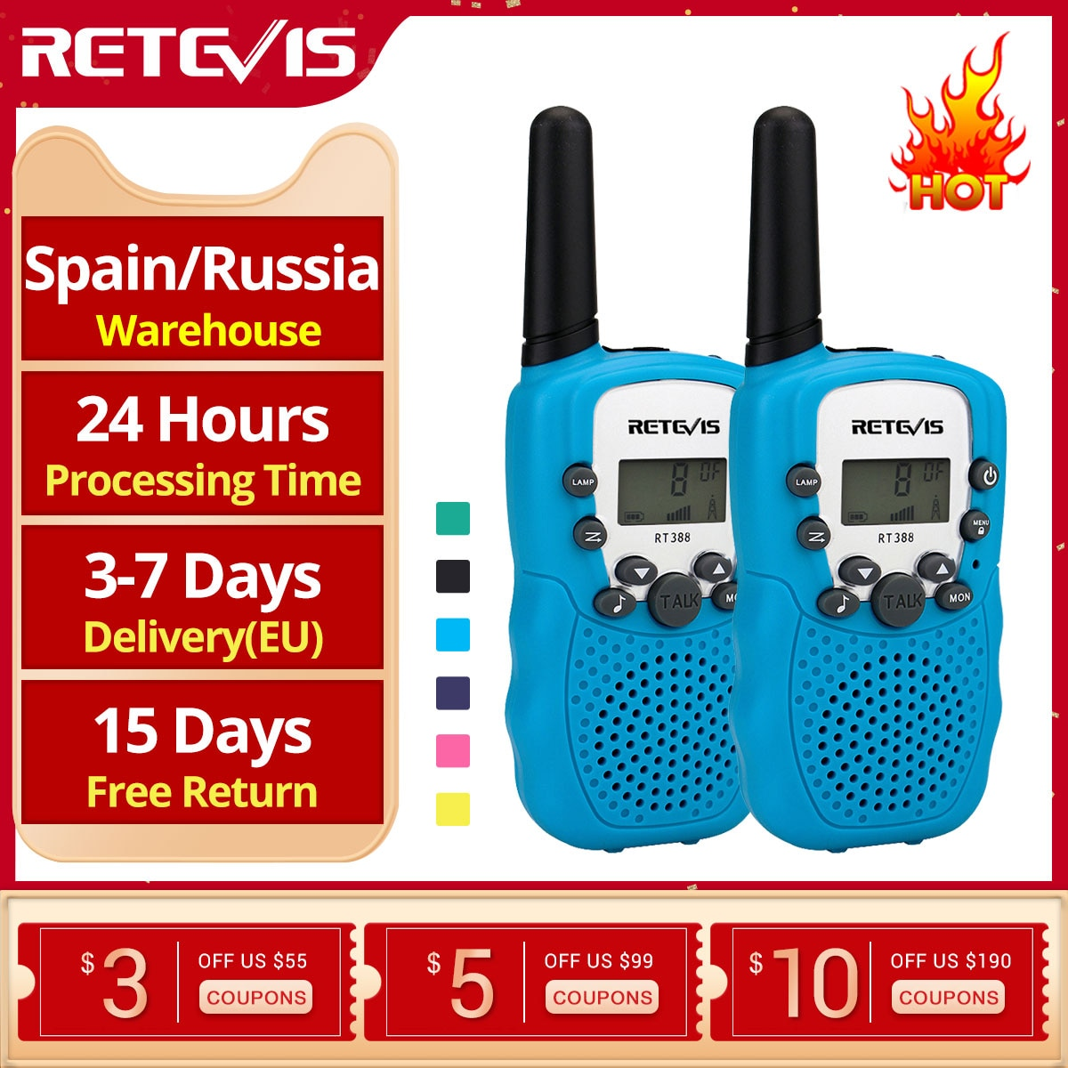 RETEVIS RT388 Walkie Talkie Children 2 Pcs Children's radio Walkie-Talkie Kids Birthday Gift Toys Fo