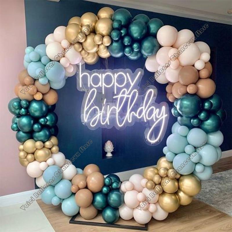 191PCS Cream Peach Gold Pearl Teal Green Retro blue  Latex  Balloon  Garland Party Event Decor Ballons Decoration Birthday