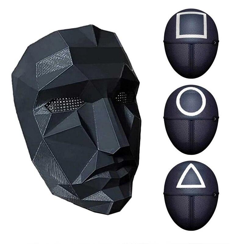 Маска из игры «кальмар», квадратная, круглая, треугольная маска для детей и взрослых, одежда для косплея на Хэллоуин и вечеринку, средний код...