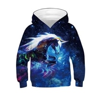 2021Moda 3d impresso moletom com capuz menina menino arco-iris cavalo animal impressao fina manga longa das criancas hoodie