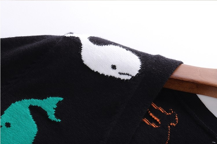 2021 autumn new TBB small whale intarsia knit sweater cardigan female color jacquard pattern V-neck jacket for men and women enlarge