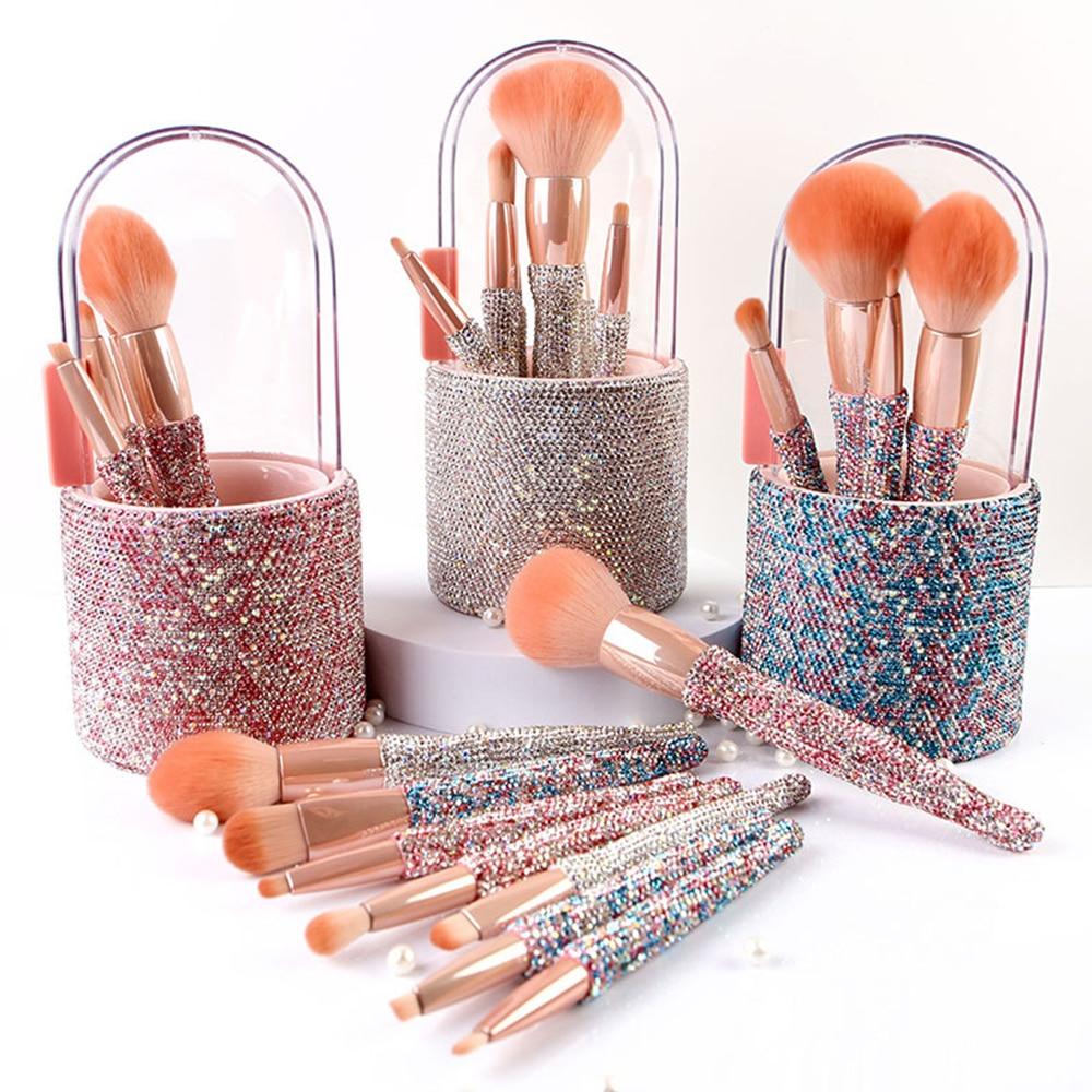 New High-end Diamond Makeup Brush Set 8pcs Barreled With Rhinestone Eyeshadow Loose Powder Brushes Beauty Tools