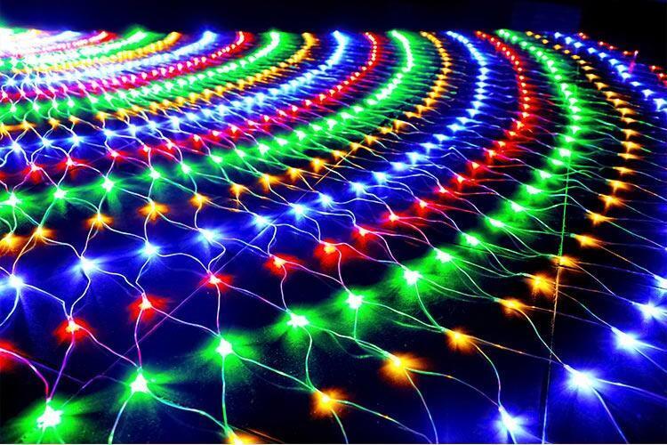 10 juegos de luz de cadena de malla de red LED 1,5x1,5 M 3x2M 6x4M TV BackgroundGarden Hada luz Navidad boda vacaciones guirnalda Luz