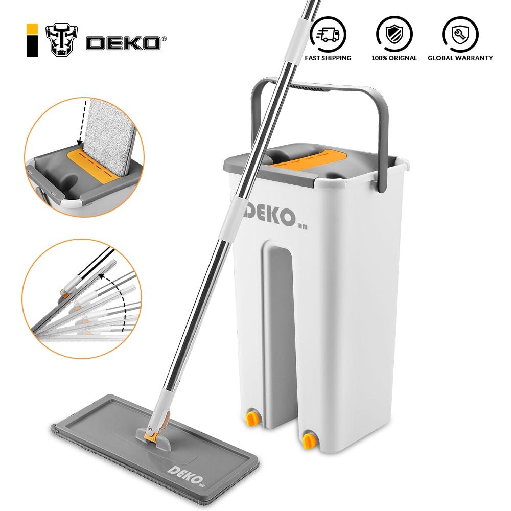 DEKO Mop With Bucket Hand Free Household Automatic Spin Floor Mop Kitchen Home Wooden Floor Cleaning Microfiber Pads