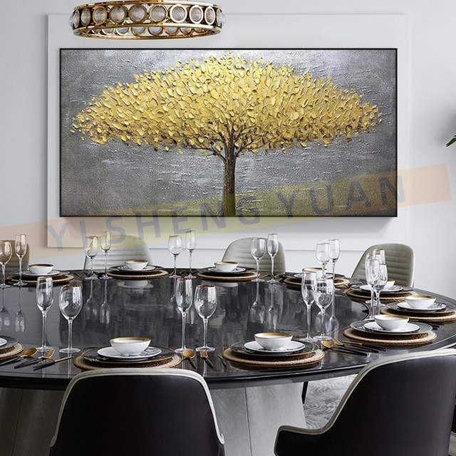 100% New Handmade Large Gold money Tree Painting Modern landscape Oil Painting On Canvas Wall Art Picture For Home Office Decor 6
