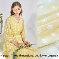 fresh wind small floral three dimensional cut flower organza dress fabric sewing fabric factory shop is not out of stock