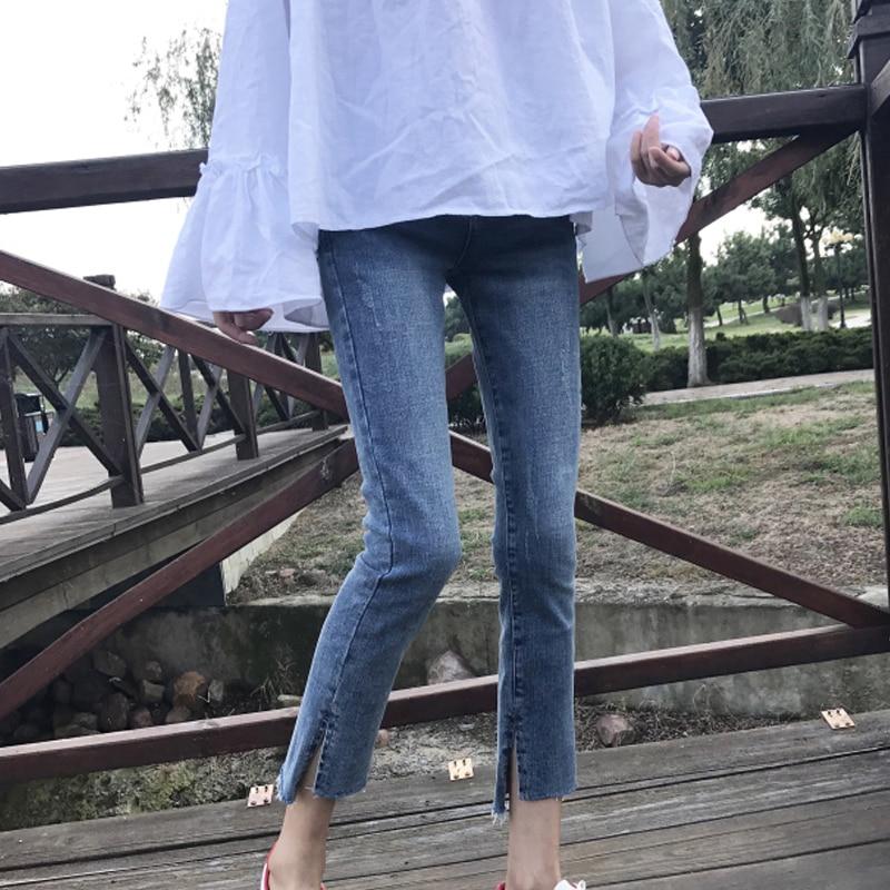 Summer Women's Chic Split Skinny Pants Pencil Pants Korean-Style Stretch Slimming High Waist Worn Je