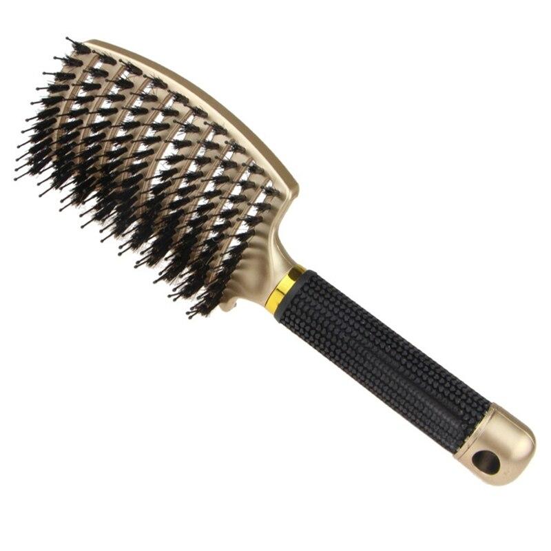 Cepillo para el pelo con cerdas de jabalí, cepillo de pelo curvado y ventilado para desenredar para mujeres, pelo largo, grueso, fino rizado, Kit de regalo, 1 Uds