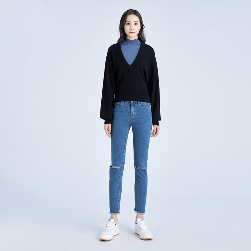 Tailor Shop Custom Made New Wool Cashmere V-neck Sweater Puff Sleeve Long-sleeved Sweater Women enlarge