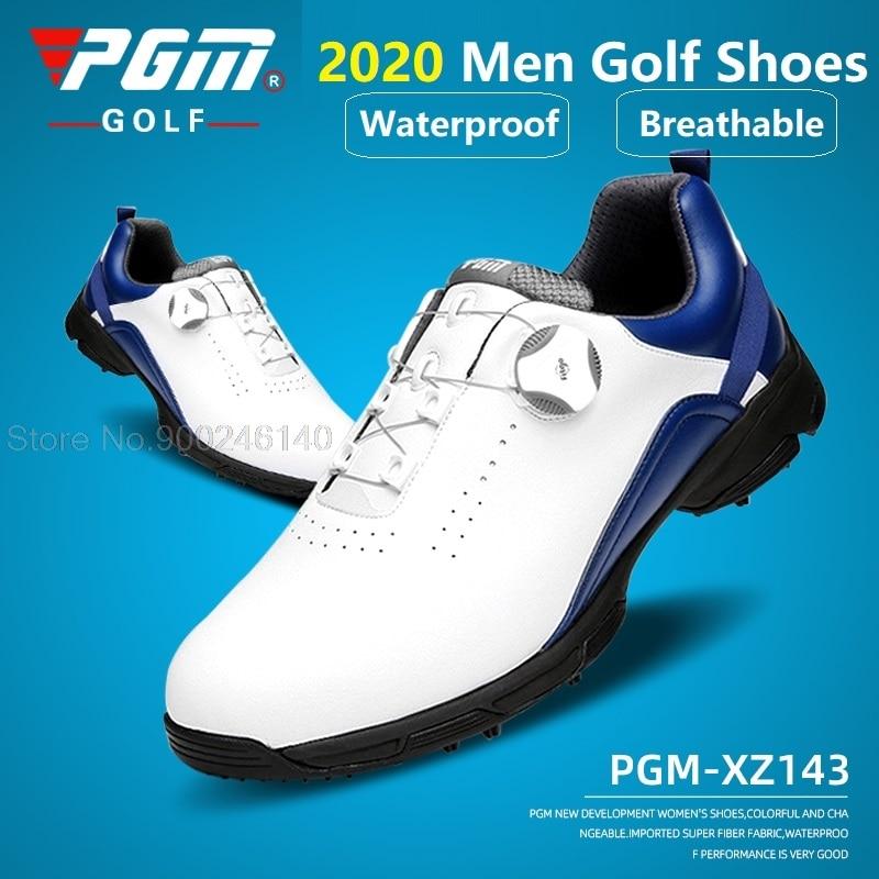 Pgm تنفس الرجال حذاء جولف مقاوم للماء الجلود الدورية المقابض أحذية رياضية رجل الرياضة مسنبل المضادة للانزلاق تدريب المدربين الغولف