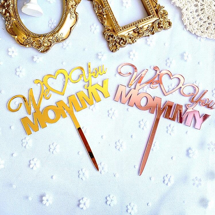 Decoración de Pastel oro rosa oro te queremos mamá torta Toppers para el día de la madre feliz cumpleaños Cupcake postre decoración suministros