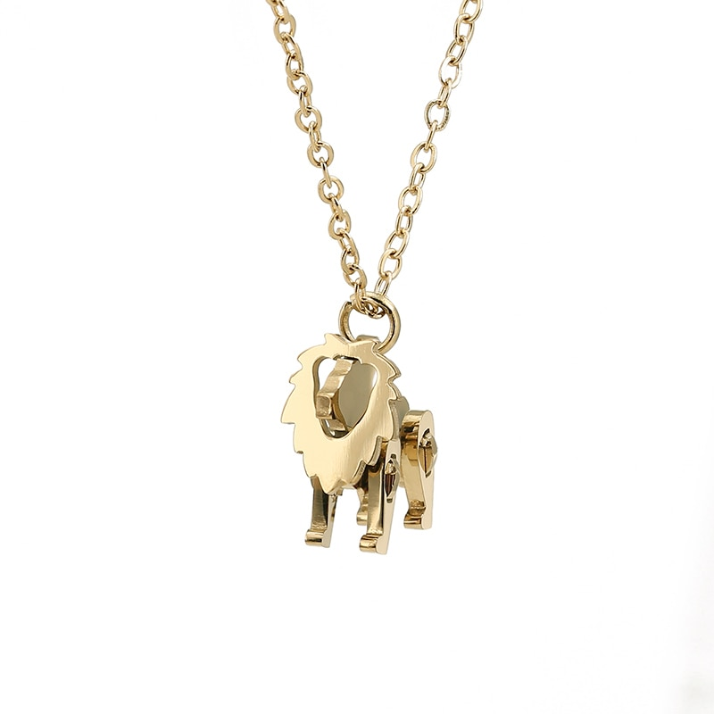 Stainless Steel Building Block Toy Cute Little Lion Pendant And Necklace For Womens Clavicle Chain P