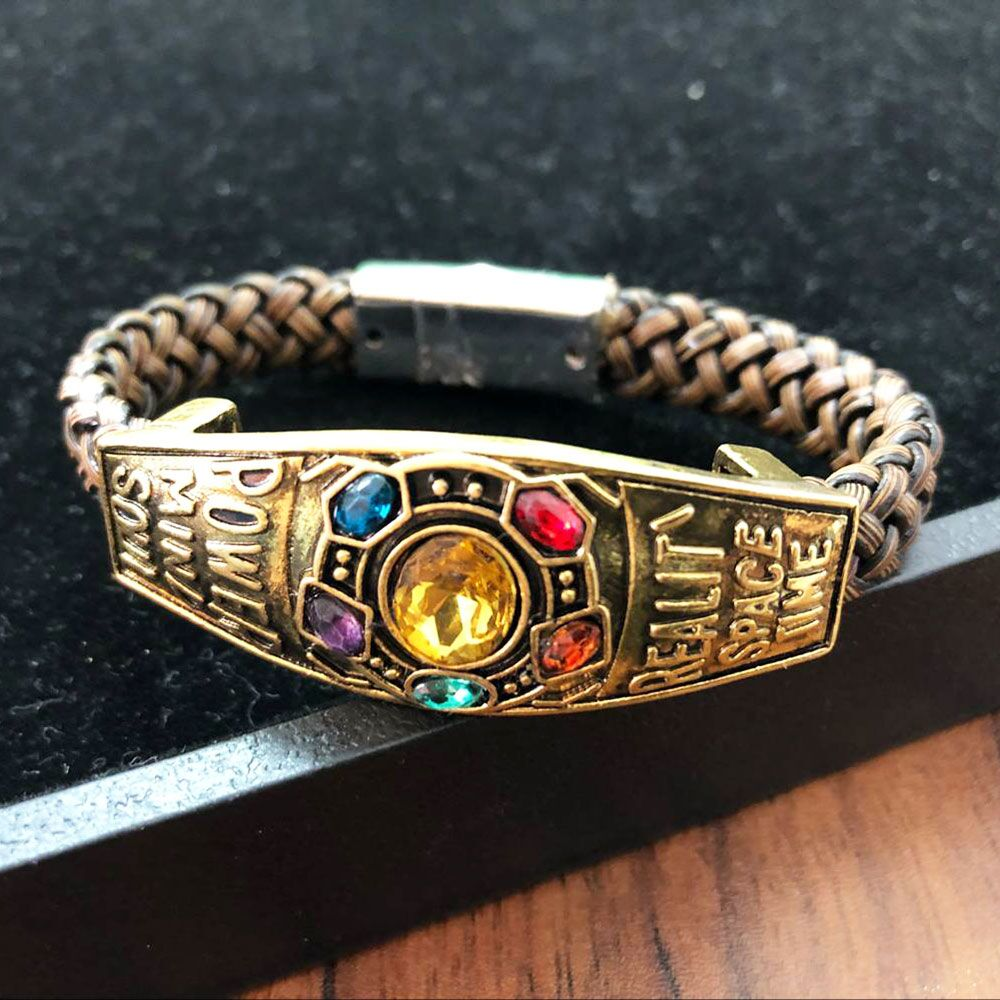 Pulseras de cadena vengadores Infinity War Thanos a la moda, guante, guantelete, piedra, brazaletes de colgantes para niñas, joyas de regalo
