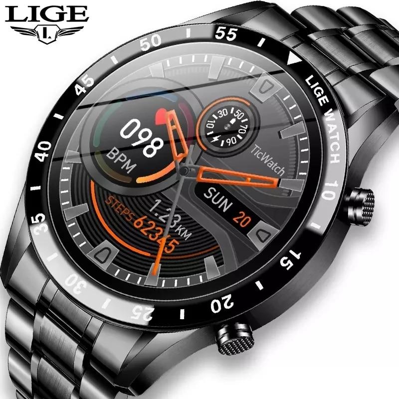 LIGE 2021 كامل دائرة شاشة تعمل باللمس سوار فولاذي فاخر بلوتوث دعوة الرجال ساعة ذكية مقاوم للماء الرياضة نشاط اللياقة البدنية ساعة + صندوق