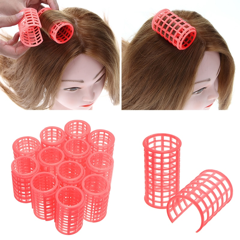 12 Pcs/set Pink Hair Curler Roller Large Grip Clips Curlers Hairdressing DIY Hair Styling Beauty Too