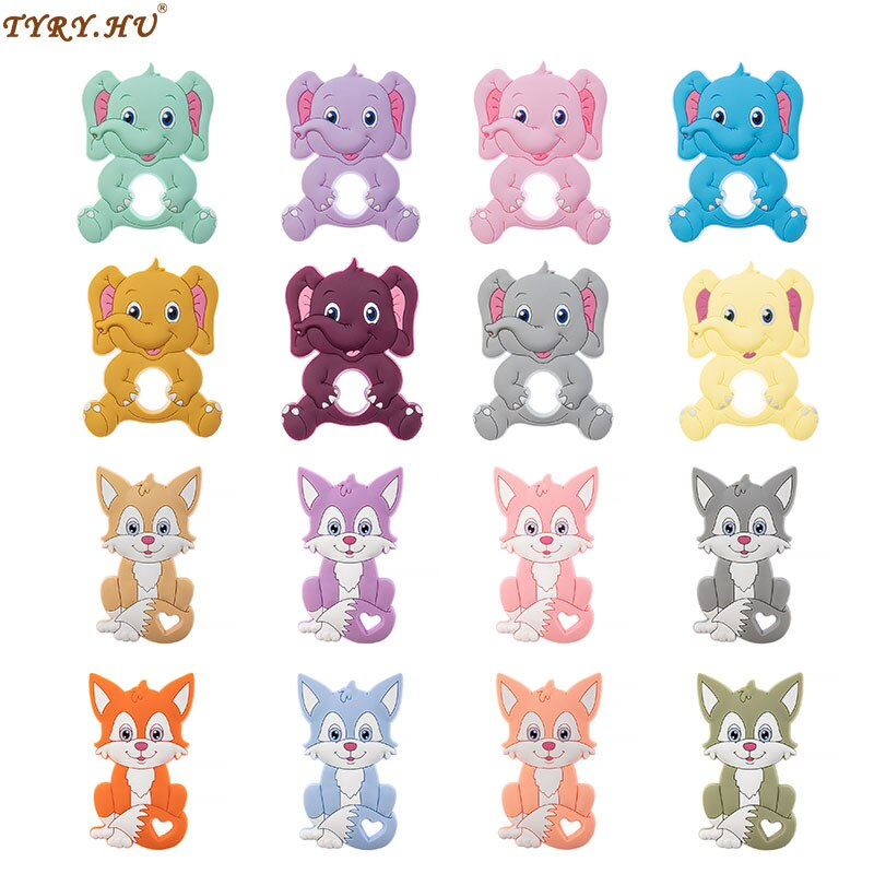 TYRY.HU 1pcs Baby Animal Silicone Teethers Fox elephant Baby Teething Product Accessories For DIY Pa