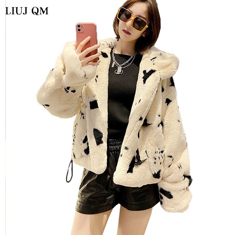 Женская куртка на искусственном меху, короткая парка с пушистой пряжкой и капюшоном, зимняя одежда, до-20 градусов, 2021